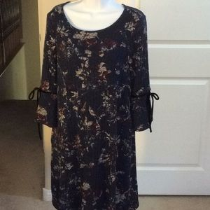 AGB Ribbed Navy A Line Dress w/ Bottom Bell Sleeve